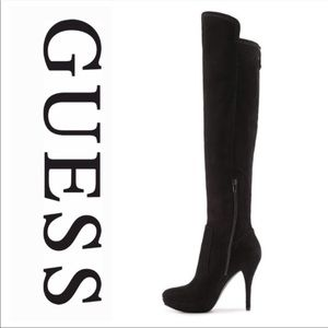 Guess Suede Knee high heeled boots